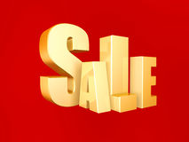 3d sale symbol. On red background Royalty Free Stock Images