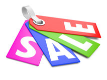 3d Sale tags. On white background Stock Image