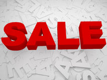 3d sale text over multiple white text. 3d red sale text with multiple white sales Stock Images