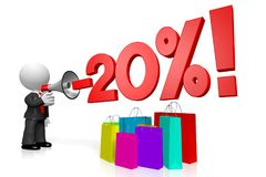 3D sale/ twenty percent off concept. 3D businessman, shopping bags - 20% off concept - great for topics like sale/ advertising etc stock illustration