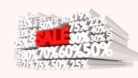 3D Sale word and percentage discount signs Stock Images