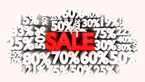 3D Sale word and percentage signs Royalty Free Stock Image