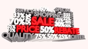3D Sale word and percentage signs Stock Images