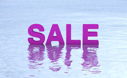 3D SALE word on blue water Stock Images