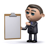 3d Salesman with a clipboard. 3d render of a salesman with a clipboard Royalty Free Stock Photos