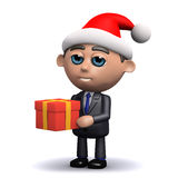 3d Salesman dressed as Santa holding a Christmas gift Royalty Free Stock Photo
