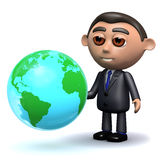 3d Salesman with a globe of the Earth. 3d render of a salesman looking at a globe of the Earth Royalty Free Stock Photography