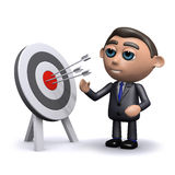 3d Salesman hits his target. 3d render of a salesman with a target and arrows Royalty Free Stock Images