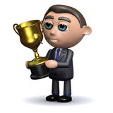 3d Salesman holding a gold cup trophy Royalty Free Stock Photography