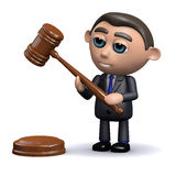 3d Salesman holds an auctioneers gavel Stock Photos