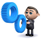 3d Salesman looking at cogs of a machine Royalty Free Stock Photos