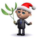 3d Salesman with Santa hat holding some mistletoe Stock Photography