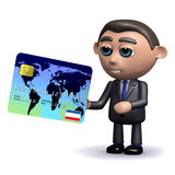 3d Salesman takes a credit card. 3d render of a salesman holding a credit card Royalty Free Stock Images