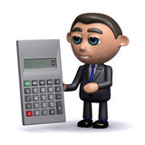 3d Salesman tots up the figures. 3d render of a salesman using a calculator Stock Photo