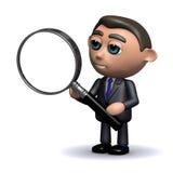 3d Salesman using a magnifying glass. 3d render of a salesman holding a magnifying glass Stock Image