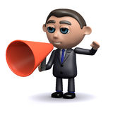 3d Salesman using a megaphone. 3d render of a salesman with a megaphone Stock Photography
