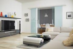 3d - salone moderno con area pranzante Fotografia Stock Libera da Diritti