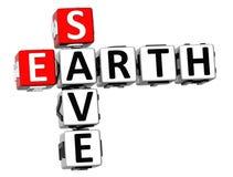 3D salvar palavras cruzadas da terra Imagens de Stock