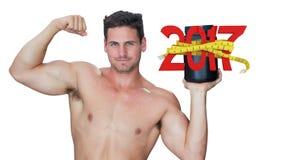 3D Samengesteld beeld van bodybuilder met eiwitpoeder Royalty-vrije Stock Afbeelding