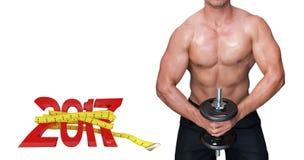 3D Samengesteld beeld van bodybuilder opheffende domoor Stock Afbeelding
