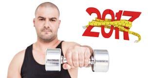 3D Samengesteld beeld van bodybuilder opheffende domoor Royalty-vrije Stock Afbeelding