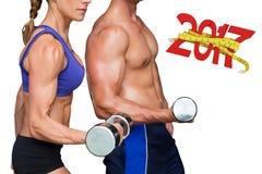 3D Samengesteld beeld van het bodybuilding van paar Stock Foto