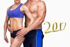 3D Samengesteld beeld van het bodybuilding van paar Stock Afbeelding