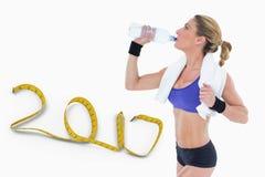 3D Samengesteld beeld van het sterke blonde drinken van waterfles Royalty-vrije Stock Fotografie