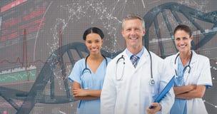 3D Samengesteld beeld van portret van mannelijke arts met vrouwelijk personeel Stock Afbeelding
