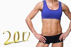 3D Samengesteld beeld van vrouwelijke bodybuilder Royalty-vrije Stock Afbeeldingen