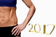 3D Samengesteld beeld van vrouwelijke bodybuilder Stock Foto's