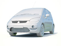 3d Samochodowy Biały Pusty szablon Obrazy Stock