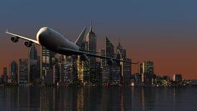3D samolot nad miasto Obrazy Royalty Free
