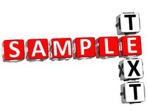 3D Sample Text Crossword. On white background Royalty Free Stock Photography