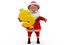 3d sana claus with dollar sign concept Royalty Free Stock Image