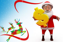 3d sana claus med illustrationen för dollartecken Royaltyfri Bild