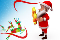 3d sana claus med illustrationen för dollartecken Royaltyfri Fotografi