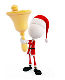 3d santa with bell. 3d Santa is holding a big bell Royalty Free Stock Photos