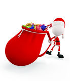 3d Santa with big gift sack Royalty Free Stock Photography