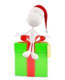 3d Santa with big giftbox Stock Photography