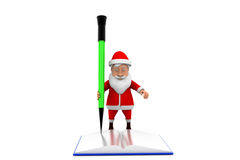 3d santa book pencil concept Stock Images