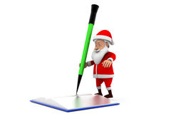 3d santa book pencil concept Royalty Free Stock Photo