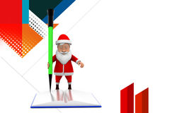 3d santa book pencil illustration Stock Photos