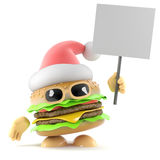 3d Santa burger holding a placard. 3d render of a beefburger dressed as Santa Claus holding a placard Stock Image