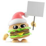 3d Santa burger holding a placard Stock Image