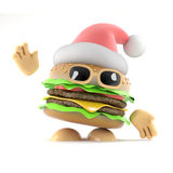 3d Santa burger Royalty Free Stock Photography