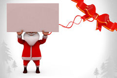3d santa carry banner illustration Stock Photos