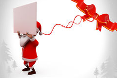 3d santa carry banner illustration Royalty Free Stock Photography