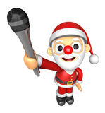 3D Santa character is holding a microphone. 3D Christmas Charact Royalty Free Stock Image