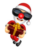 3D Santa character is jumping with both hands holding a big gift Stock Image